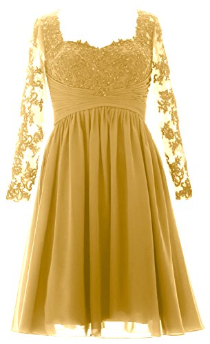 Women Formal Bride Dress Gold Midi Lace of Sleeves Long Gown Evening MACloth Mother ftgxdqwg