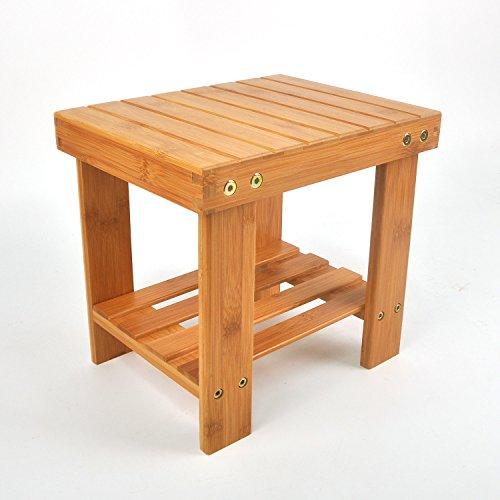 Utoplike Multipurpose Kids Bamboo Stool,Step Stool with Storage Shelf,Lightweight, 200 Pounds Bearing - Stool Mini