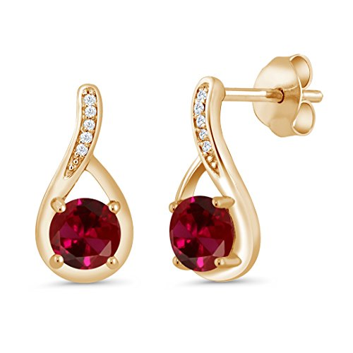Gem Stone King 1.27 Ct Red Created Ruby and Diamond 18K Yellow Gold Plated Silver Infinity Earrings