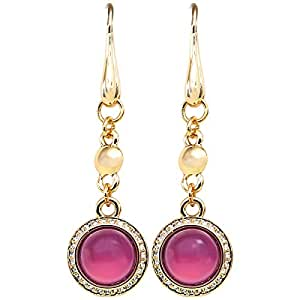 Elementesse Women's Gold Plated Stainless Steel Dangle Earring