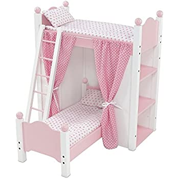 Amazon Com 18 Inch Doll Bed Furniture White Loft Bunk Bed With