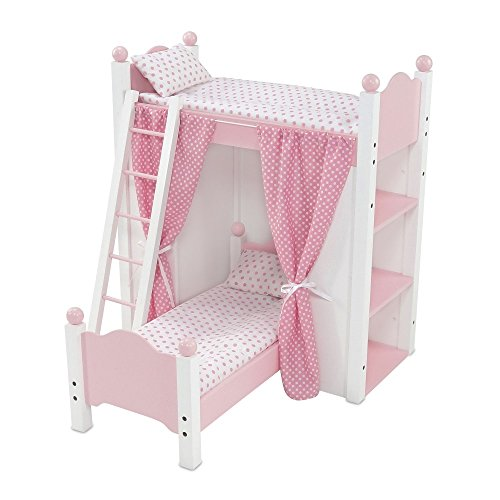 18 Inch Doll Bed Furniture | White Loft Bunk Bed with Shelving Units and Angled Single Bed, Includes Ladder, Pink and White Polka Dot Bedding and Coordinating Curtains | Fits - Beds Doll Bunk American Girl