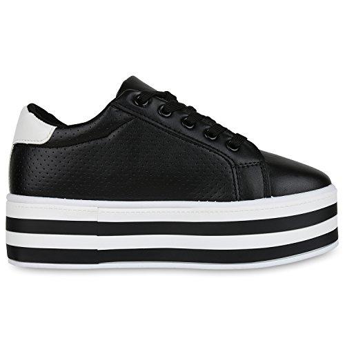 VITA Damen Sneaker Schwarz Weiss Plateau SCARPE Basic S1Tzn