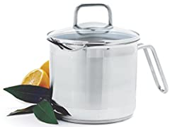 """Measures: 7.5"""" x 9"""" x 6"""" / 19cm x 23cm x 15cmCapacity: 8C / 1.9LStainless steel construction. Straining multi-pot with specially designed pour spout to drain liquid with ease. Simply turn the lid to seal in the steam or use either the 3mm or..."""