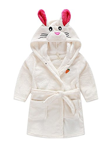 Taiycyxgan Little Girl's Coral Fleece Bathrobe Unisex Kids Robe Pajamas Sleepwear White Rabbit (White Rabbit Hood)