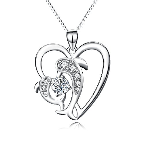 YFN Dolphin Necklace Sterling Silver Dolphin Dance Pendant Necklace Jewelry Dolphin Gifts