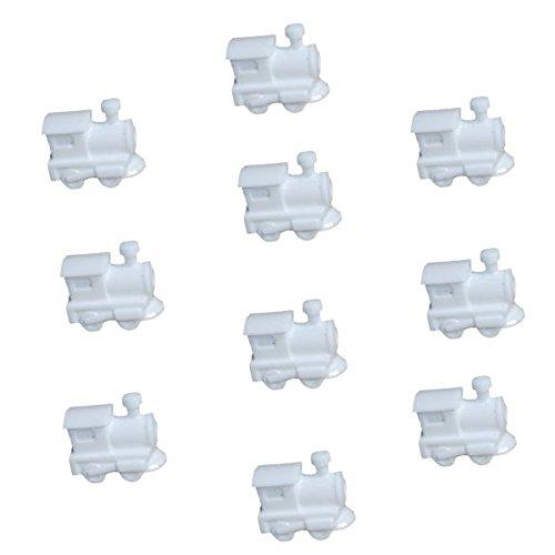 25 White Train Beads