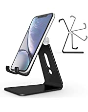 Adjustable Cell Phone Stand, OMOTON Aluminum Desktop Cellphone Stand with Anti-Slip Base and Convenient Charging Port, Fits All Smart Phones (Black)