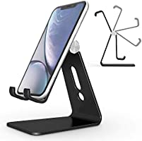 Adjustable Cell Phone Stand, OMOTON Aluminum Desktop Cellphone Stand with Anti-Slip Base and Convenient Charging Port,...