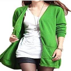 Molif Wool Sweater Medium Long Cashmere Cardigan Women Loose Sweater Outerwear Coat With Pockets Green Xxxl