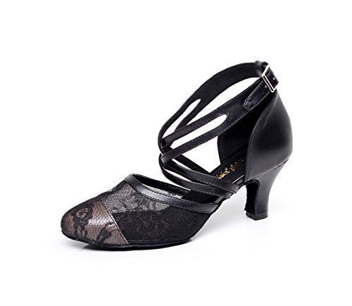 Shoes Salsa Round EU33 Our34 Shoes Sandals Sequins Chacha High Samba Heels UK3 Tango Dance heeled6cm Women's Jazz Latin Modern Toe JSHOE Black YE0BqF