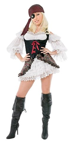 [Playboy Womens Buccaneer Beauty Pirate Outfit Fancy Dress Sexy Costume, Small (6-8)] (Buccaneer Beauty Costume)