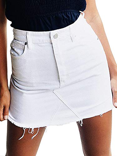 just quella Women's High Waisted Jean Skirt Fringed Slim Fit Denim Mini Skirt (S, White Washed)
