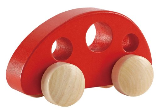 Hape Mini Van Wooden Toddler Toy Vehicle in Red Wood Toy Car