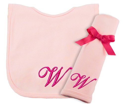 Princess Linens Embroidered Cotton Knit Bib and Burp Set - Pink, W