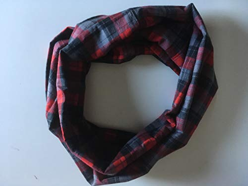 Red Gray, Black Plaid Infinity Scarf by 2LjDesigns
