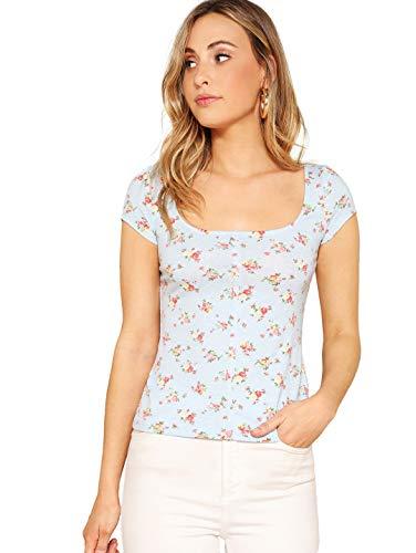 Romwe Women's Short Cap Sleeve Scoop Neck Flower Print Summer Slim Fit Crop Tee Top Pastel M ()