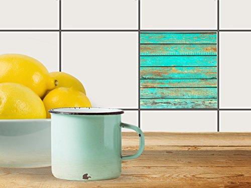 Mattonelle adesive, 20 x 15 cm, 1 x 1 (Wooden design Aqua motivo ...