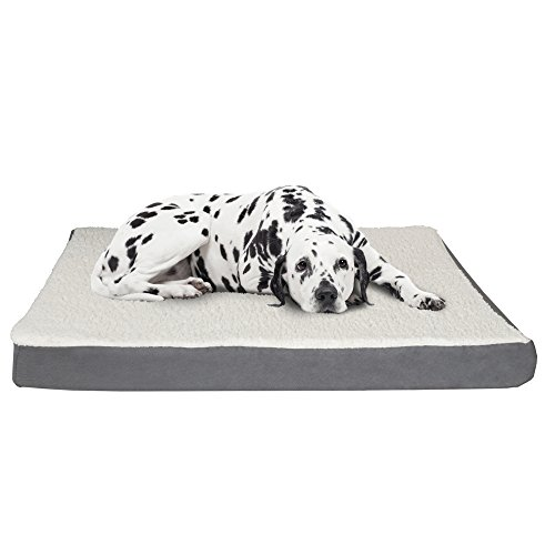 PETMAKER Orthopedic Sherpa Top Pet Bed with Memory Foam and Removeable Cover 44x35x4.75 Gray by PETMAKER (Image #5)