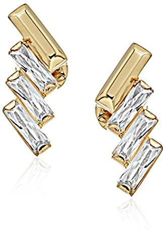 Michael Kors Gold Tone Baguette Statement Stud Earrings (Watches Michael Kors In Clearance)