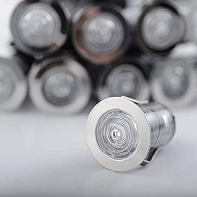 Zip-LED Deck Light LED Kit in 316L Stainless Steel, 12V Low Voltage, 3000K Warm White, IP67 Waterproof, Indoor and Outdoor use in Bathrooms, Kitchens, Landscapes, Pathways, Stairs, Steps and Soffits