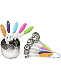 Bargain 10-Piece Stainless Steel Measuring Cups and Spoons Set with Soft Silicone Handles For Easy Grip opportunity