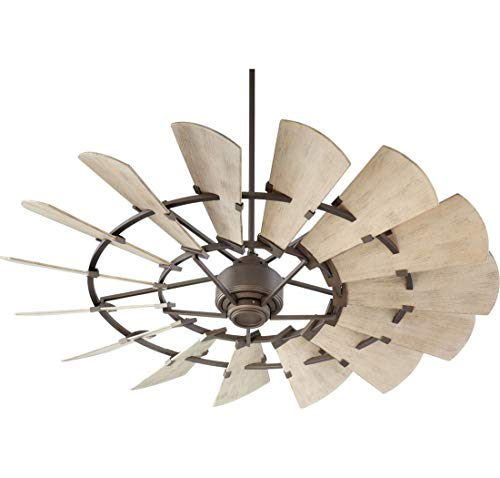 Quorum 196015-86 Windmill Ceiling Fan in Oiled Bronze with UL Damp Weathered Oak Blades