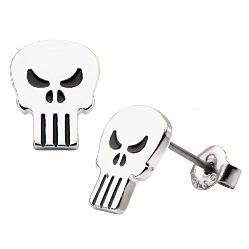 [Punisher Skull Silver Tone Stainless Steel Stud Earrings Costume Accessory] (Punisher Cosplay Costume)