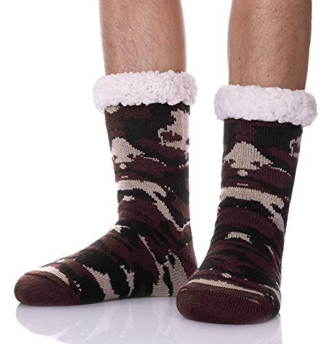 MSMETRO Christmas Gift Socks - Mens Boy Thick Cosy Soft Warm Fleece Thermal Fuzzy Winter Home Non Slip Socks Slipper Sock (Camouflage Color - Brown)
