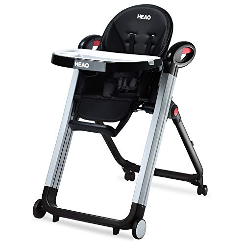 HEAO Foldable High Chair Reclining Height Adjustable 4 Wheels (Black)
