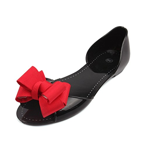 Amazon.com | Dear Time Women Bowknot Peep Toe PVC Slip on Jelly Shoes | Flats