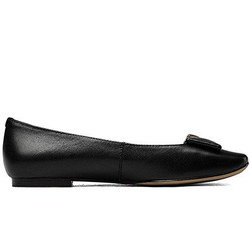 Negen Zeven Echt Lederen Damesslipschoenen Met Ronde Neus En Comfort Handgemaakte Platte Schoenen Zwart