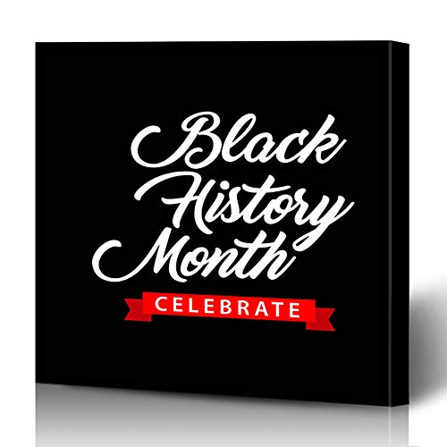 Ahawoso Canvas Prints Wall Art 12x16 Inches 10 Stamp Black History Month Celebration Raised America African American Culture Decor for Living Room Office Bedroom ()