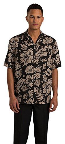 Edwards 2-Color Hibiscus Camp Shirt, BLACK, - Shirt Hibiscus Camp
