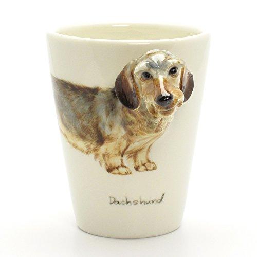 Dachshund Wire Haired Dog Ceramic Mug 00002 3D Head Handle Coffee Cup Original Handmade Hand Paint by madamepOmm