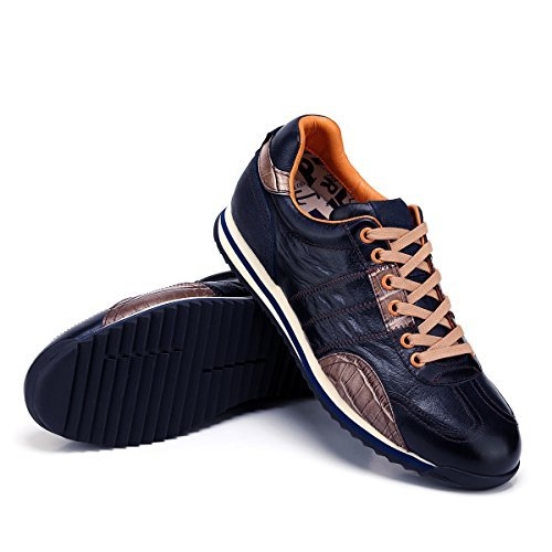 Luxury Men's Genuine Leather Lace-up Casual Fashion Sneakers (45)