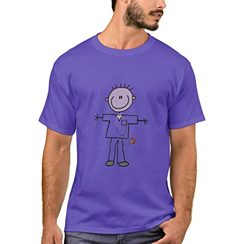 Zazzle Men's Basic T-Shirt, Male Stick Figure Nurse Tshirts and Gifts, Purple XXL