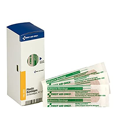 "First Aid Only SmartCompliance Refill 3/4""x3"" Plastic Bandages, 25 Per Box from First Aid Only"