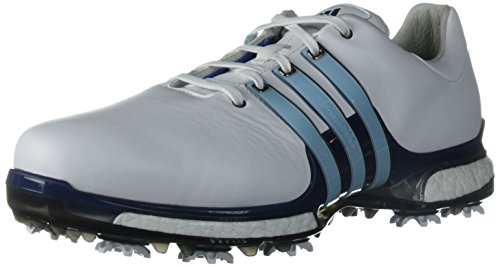 adidas Men's TOUR 360 2.0 Golf Shoe, White/Ice Blue/Mystery Ink, 8 Wide US
