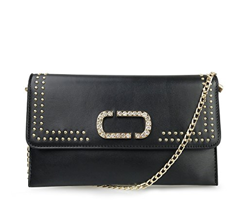 Women Punk Style Rivets Black Clutch Bag with Diamante Gold Metal Decorated (Black)