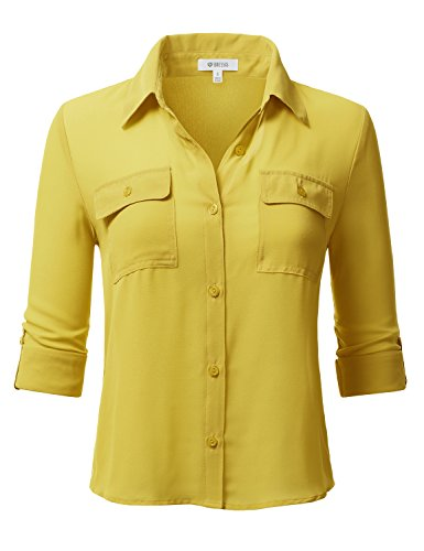 DRESSIS Women's Front Two Pocket V-neck 3/4 elbow half length sleeve Henley Top MUSTARD L (Shirt Mustard Girl)