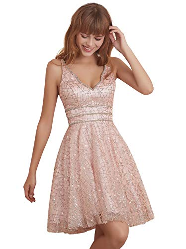 Women's Tulle Prom Gown Short Homecoming Dresses Crystal Sparkle Party Dresses(Blush,04)