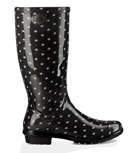 UGG Women's Shaye Polka Dots Rain Boot Black/White 11 M -