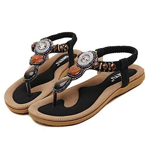 JOYBI Women Flat Slides Sandals Slip On Bohemian Summer Rhinestone Elastic Band Ladies Comfort Sandal ()