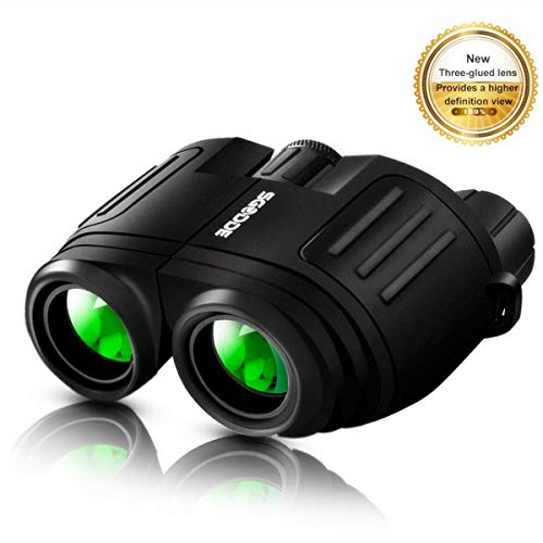 Compact Binoculars High Powered Binoculars, SGODDE 10×25 Folding HD Binoculars for Adults Kids,Waterproof,Clear Binocular with Low Light Night Vision for Bird-Watching Travelling Hunting Concerts