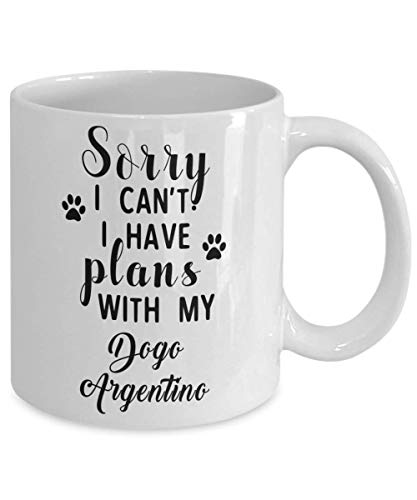Dogo Argentino Mug - Sorry I Can't I Have Plans With My - Funny Novelty Ceramic Coffee & Tea Cup Cool Gifts For Men Or Women With Gift Box 2