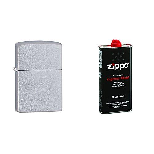 (Zippo Satin Chrome Pocket Lighter w/ 12 oz. Lighter)