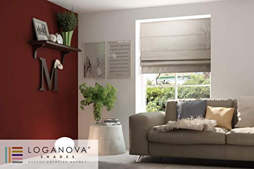 LOGANOVA Luxury Roman Shades For Windows. Linen Shimmer Drapery Fabric. Chain Mechanism And Blackout Lining Option. Custom Made And Hand Crafted. ()