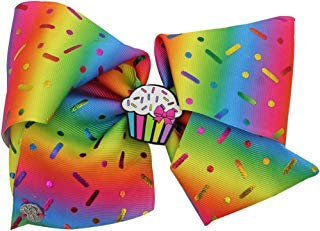 JoJo Siwa Large Scented Cheer Hair Bow - Rainbow Sprinkles with Scented Cupcake Charm