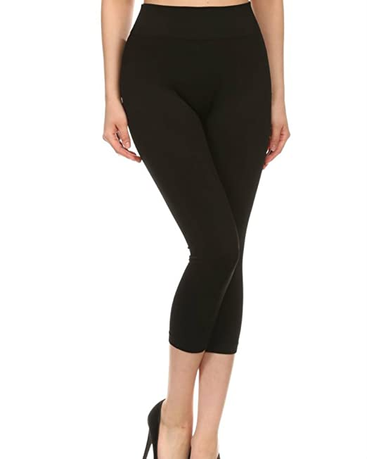 0f5314b599178 New Mix Seamless Spandex Capri Legging High Waist Regular One Size (Black)